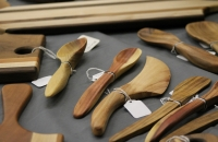 Utah craftsmen create and sell kitchen utensils created from scrap wood at the Snow Goose Craft Fair.